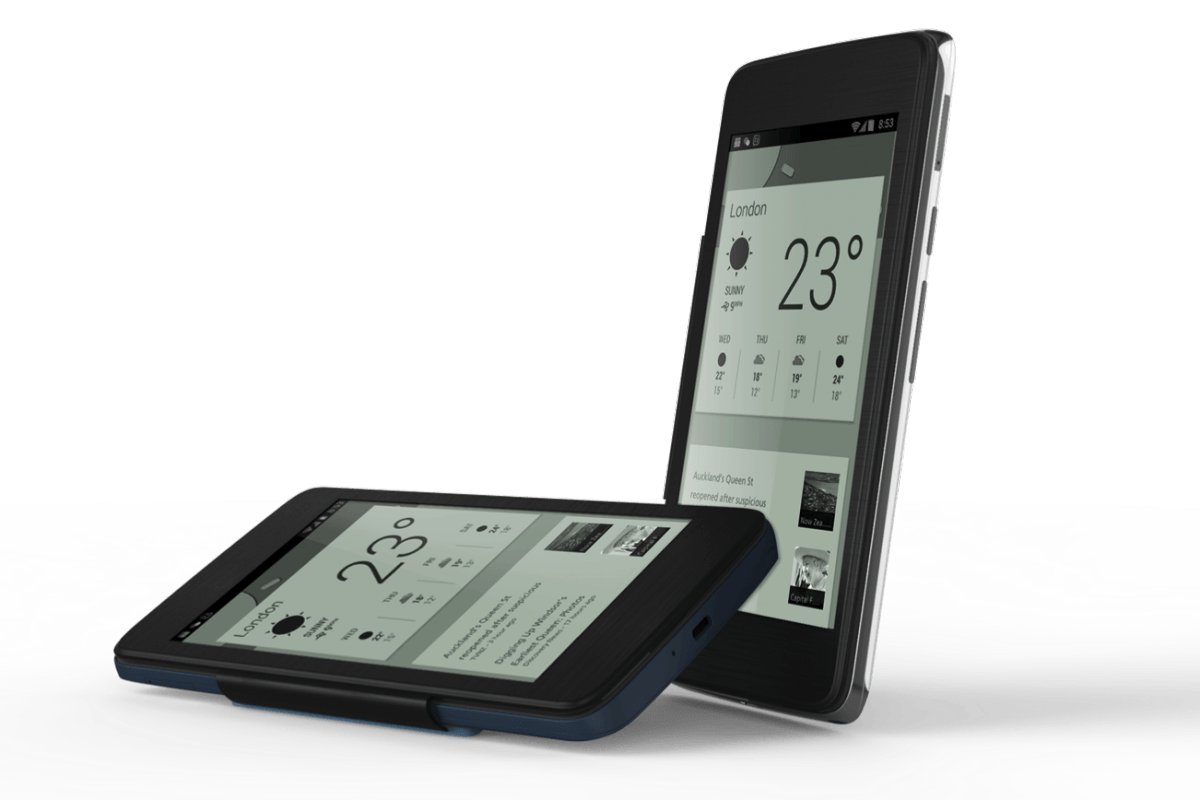 E ink screens built into smartphone covers and cases for Telephone portable a touches
