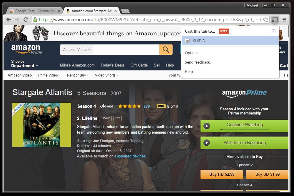 Signing into Amazon Video