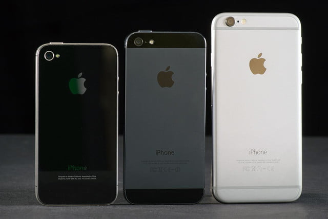Apple iPhone 6, 5, 4 comparison rear