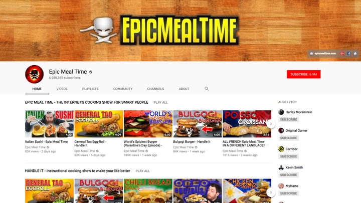 best youtube channels epic meal time