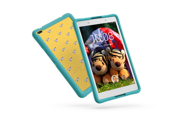 lenovo mwc refresh yoga miix flex tab4 05 8inch hd with kids bumper blue hero front facing right white