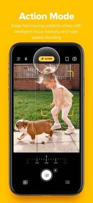 Screenshot of Action Mode feature on Camera+ 2 iOS app