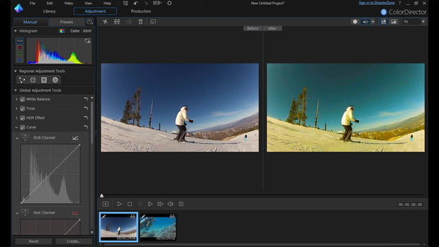 cyberlink director suite 4s new features include action cam video editing split screen adjustment