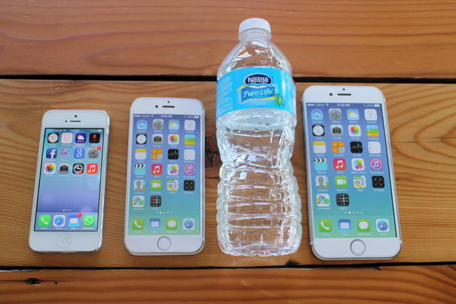 iPhone 5, iPhone 6, water bottle, and iPhone 6 Plus