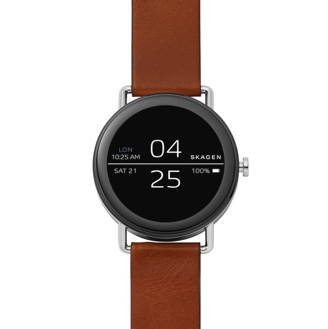 skagen falster news brown leather smartwatch