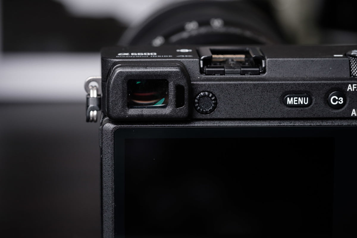 Sony A6600 detail of the electronic viewfinder