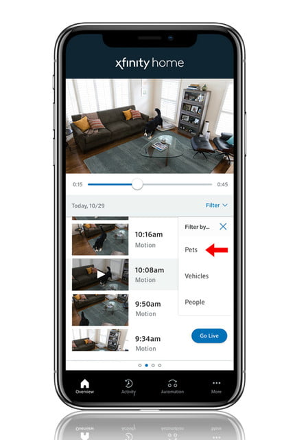 spy on your pets with comcast xfinity camera ai powered pet filter mobile image