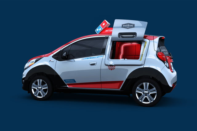 dominos innovative dxp chevrolet spark pizza delivery car 8