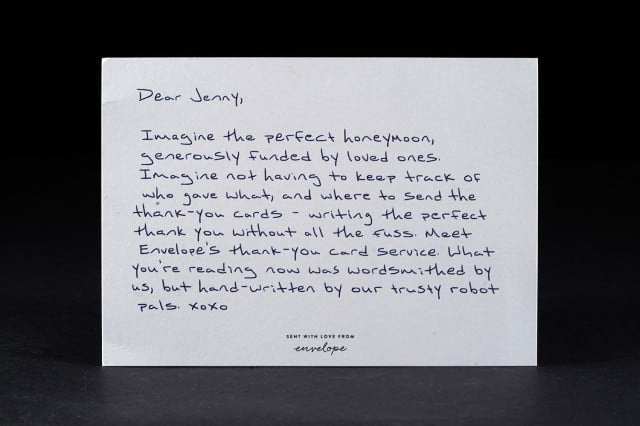 When Do You Send Thank You Notes For Wedding Gifts: Envelope Uses Robots To Write Gift Registry Thank You