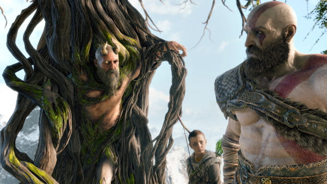 God of War Review | Kratos and Atreus speaking with some sort of tree creature