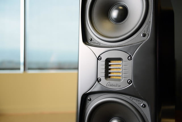 goldenear triton five tower 5 close up middle two speakers
