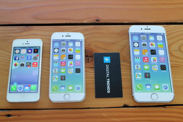 iPhone 5, iPhone 6, business card, and iPhone 6 Plus