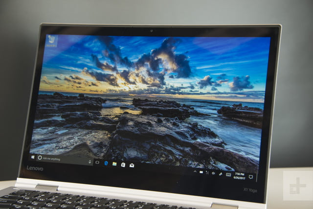 Close up of the screen angled to the left — Lenovo ThinkPad X1 Yoga