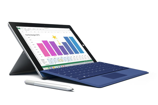 Microsoft Surface 3 blue pen front angle