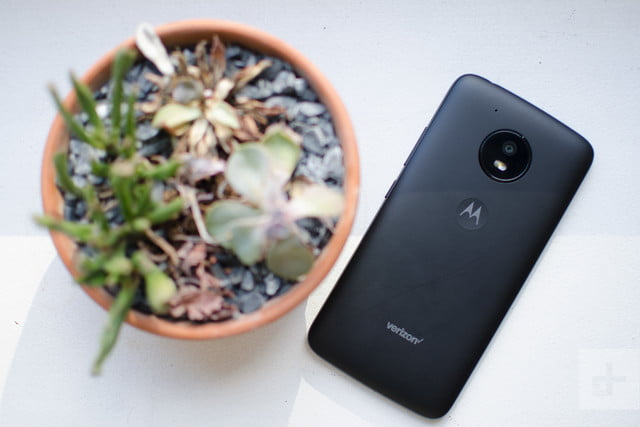 Moto E4 sitting face down next to potted plant