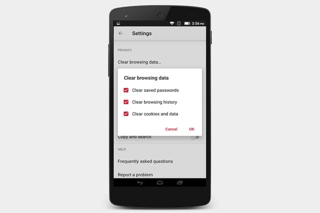opera clear browsing data android