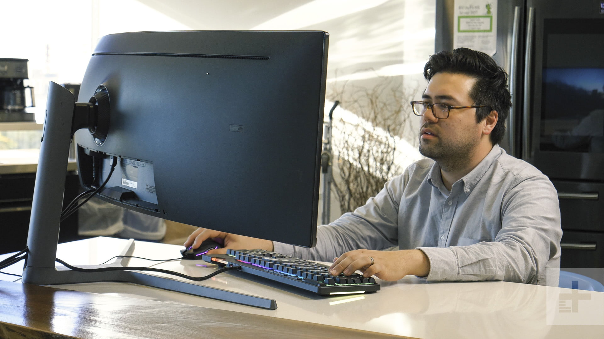 Samsung Chg90 Ultrawide Gaming Monitor Review Digital Trends Labelled Photo Of A Computer Showing The Stood On