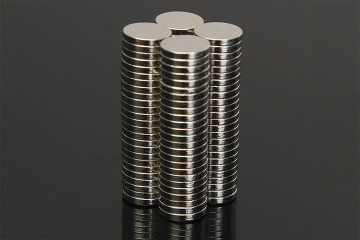 A stack of rare-earth fridge magnets made out of neodymium