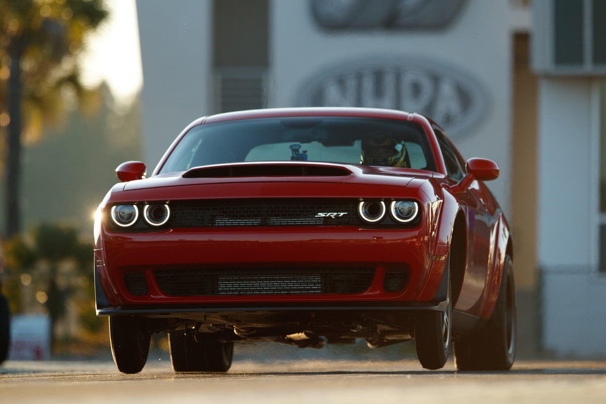 The Dodge Challenger Srt Demon Is The Worlds First Production Car To Lift The Front Wheels At Launch It Set The World Record For Longest Wheelie From A Standing Start By A Production Ca X